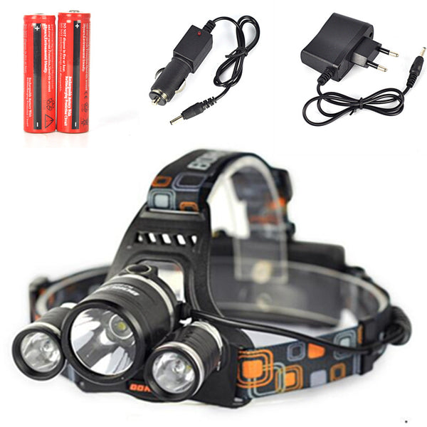 8000 Lumen 3XM-L T6 LED Waterproof Headlamp (Rechargeable Batteries Incl.)