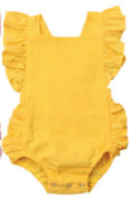 Little Initial Linen Romper - Yellow