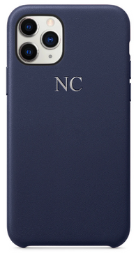 Navy Leather Embossed Phone Case