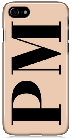 Nude and Black Initial Phone Case