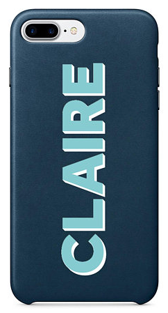 Navy Leather Name Phone Case