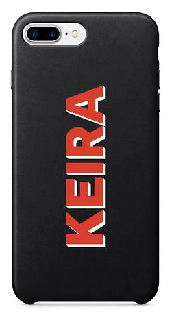 Black Leather Printed Name Phone Case