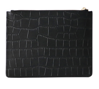 Black Croc Leather Clutch