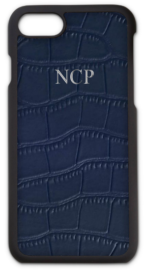 Navy Leather Croc Phone Case