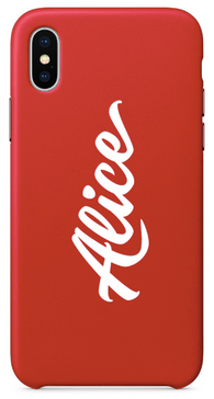 Red Leather Name Phone Case