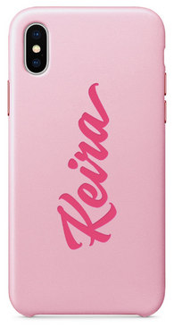 Pink Leather Name Phone Case