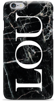 Initial Black Marble Phone Case
