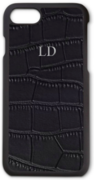 Black Croc Leather Phone Case