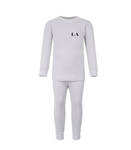 Little Ribbed Loungewear Set - Grey
