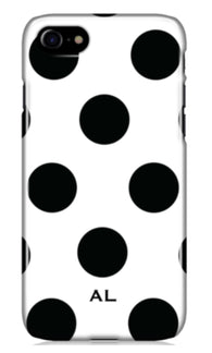 The White Polka Initial Phone Case