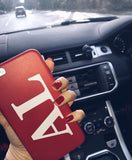 Red Leather Printed Phone Case