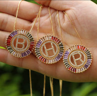Coloured Crystal Alphabet Necklace