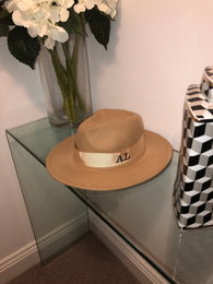 Initial Winter Fedora Hat (Tan)