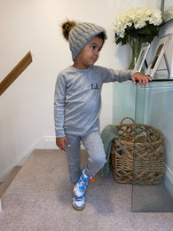 Little Loungewear & Bobble Hat Set - Grey