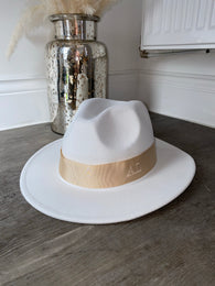 Initial Winter Fedora Hat - White & Nude