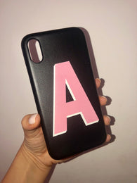 Black PU Printed Initial Phone Case