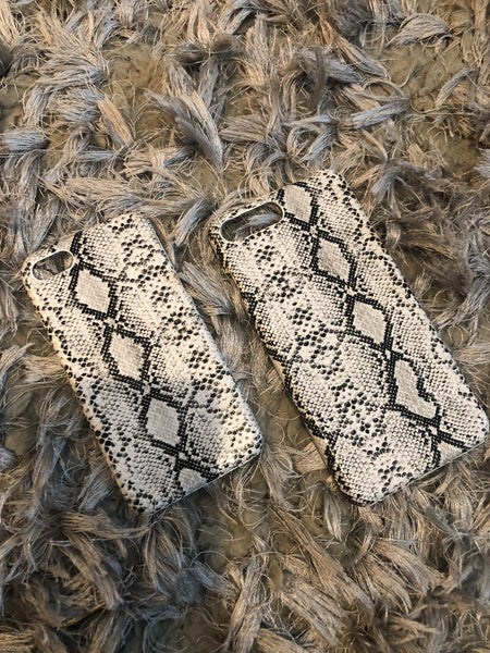 White Snake Leather Phone Cover