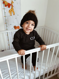 Little Loungewear & Bobble Hat Set - Black