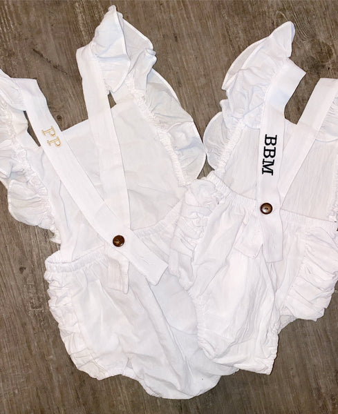 Little Initial Linen Romper - White