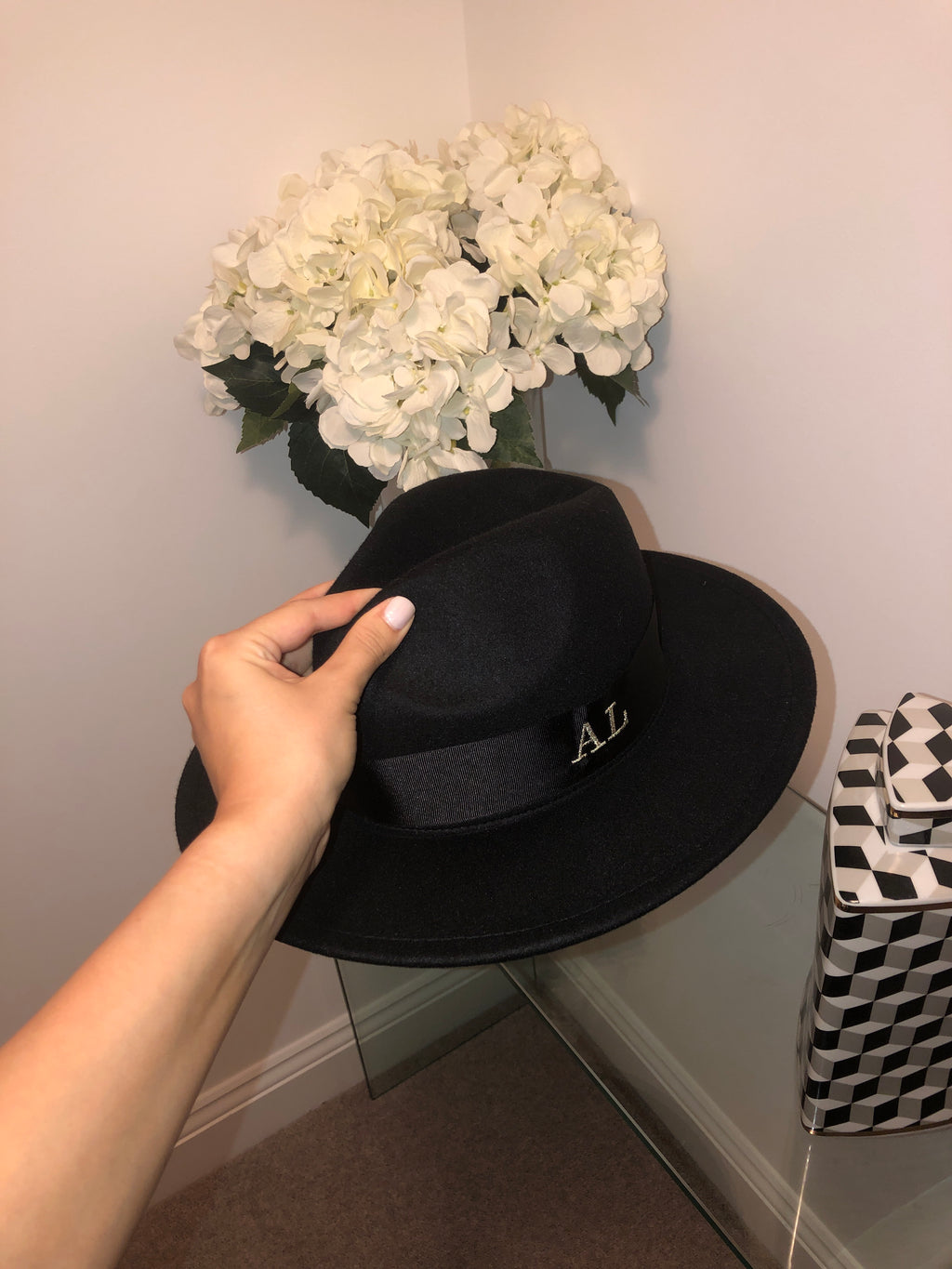 Initial Winter Fedora Hat (Black)
