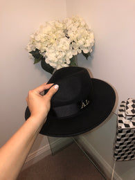 Initial Winter Fedora Hat (Black) - PRE ORDER