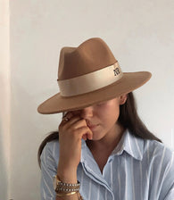 Tan Initial Winter Fedora Hat