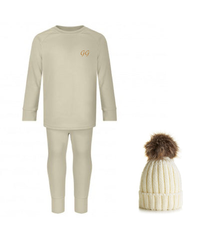 Little Loungewear & Bobble Hat Set - Oatmeal
