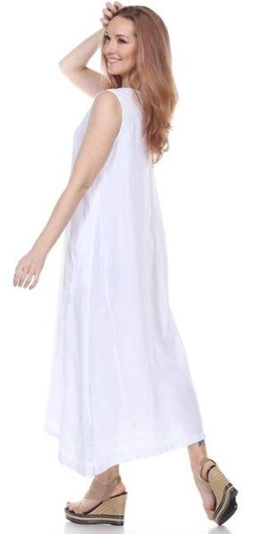 La Fixsun Linen V-neck Sleeveless A-Line Dress  FBD121 - Lori's Lovelies