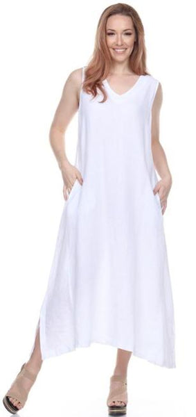 La Fixsun Linen V-neck Sleeveless A-Line Dress  in  White  Gray  Silver  Grapefruit  Olive  Midnight  Charcoal  Black  FBD121