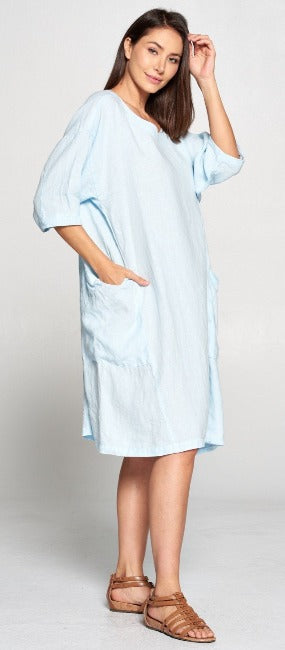 La Fixsun Linen Dress or Tunic with Large Side Pockets FBD861 - Lori's Lovelies