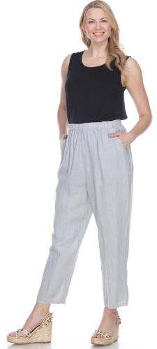 Match Point Linen Elastic Waist Pants with taper regular and plus sizes LP160
