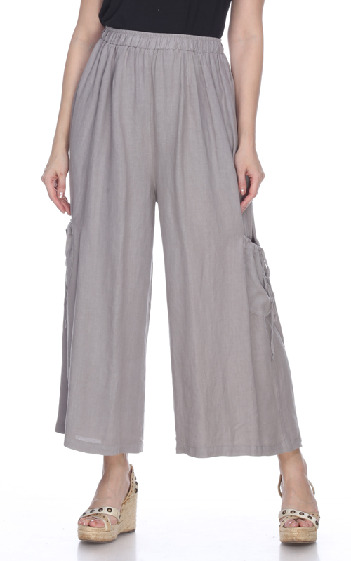 La Fixsun Linen Drawstring Pocket Pant in Charcoal FBP17 - Lori's Lovelies