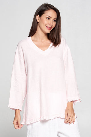 La Fixsun Linen V Neck Top with Ruffles at Wrist and Hem FBT411 in Pink - Lori's Lovelies