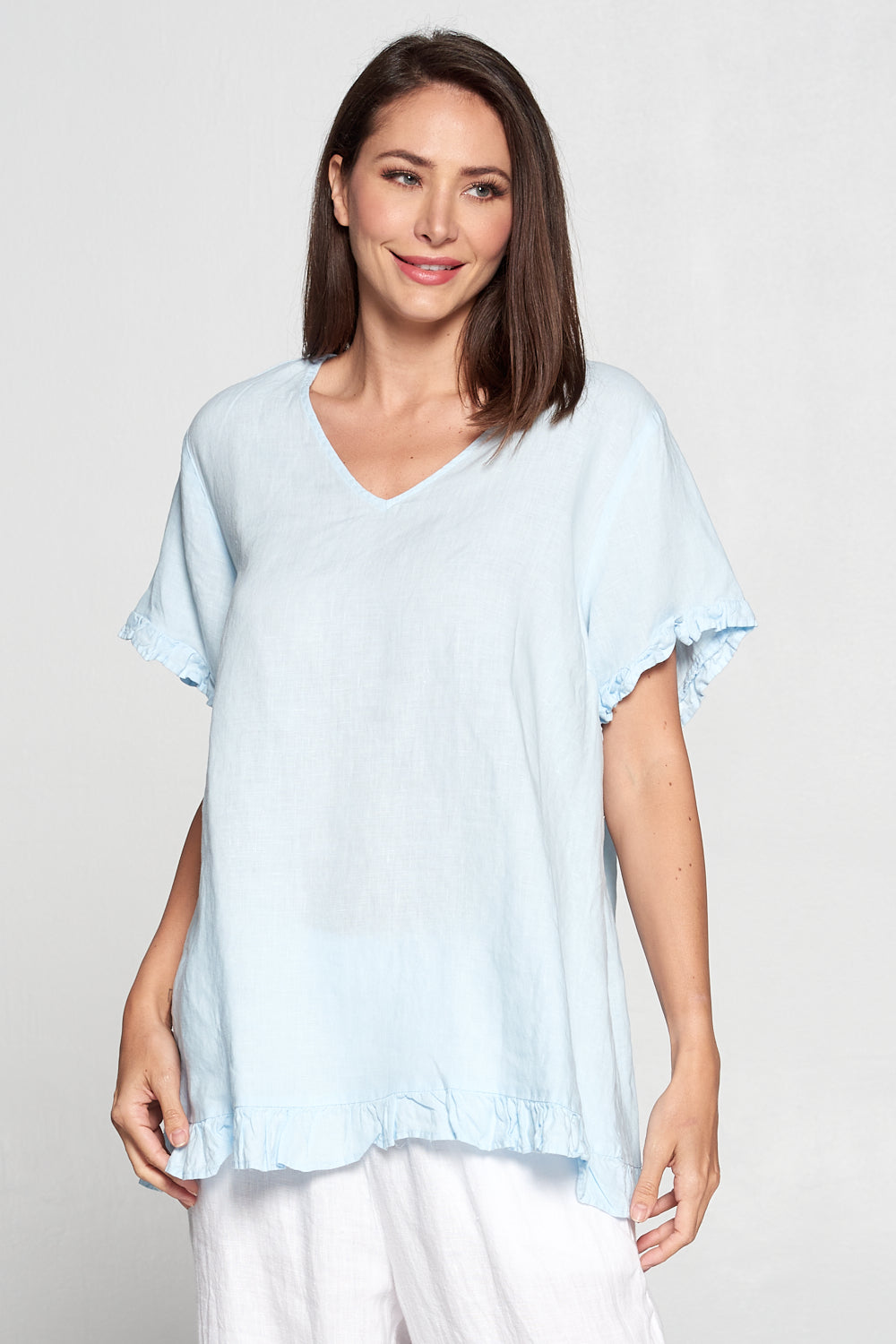 La Fixsun Linen Short Sleeve Vneck top with Ruffle - FBT413 - Ice Blue - Lori's Lovelies