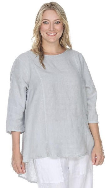 La Fixsun Linen 3/4 sleeve Round Neck Swing Top Vertical Seams - Basic Colors -FBT865