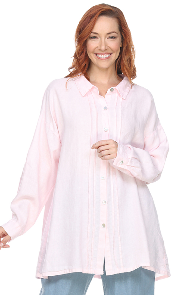 La Fixsun Linen Button Down Boyfriend Tunic with Pintucks in Pink and White FBT996