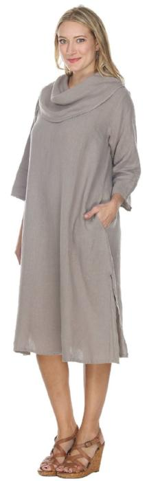 Match Point Linen Cowl Neck Dress or Long Tunic in Charcoal Gray White  QuartzPink HLD1081 - Lori's Lovelies