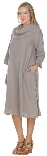 Final Sale - Match Point Linen Cowl Neck Dress or Tunic Charcoal Gray White QuartzPink HLD1081 - Lori's Lovelies