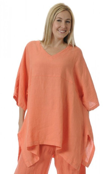 Match Point Linen Kimono Pullover Tunic Sizes XL  1X  2X Plus -More Colors- HLT248 - Lori's Lovelies