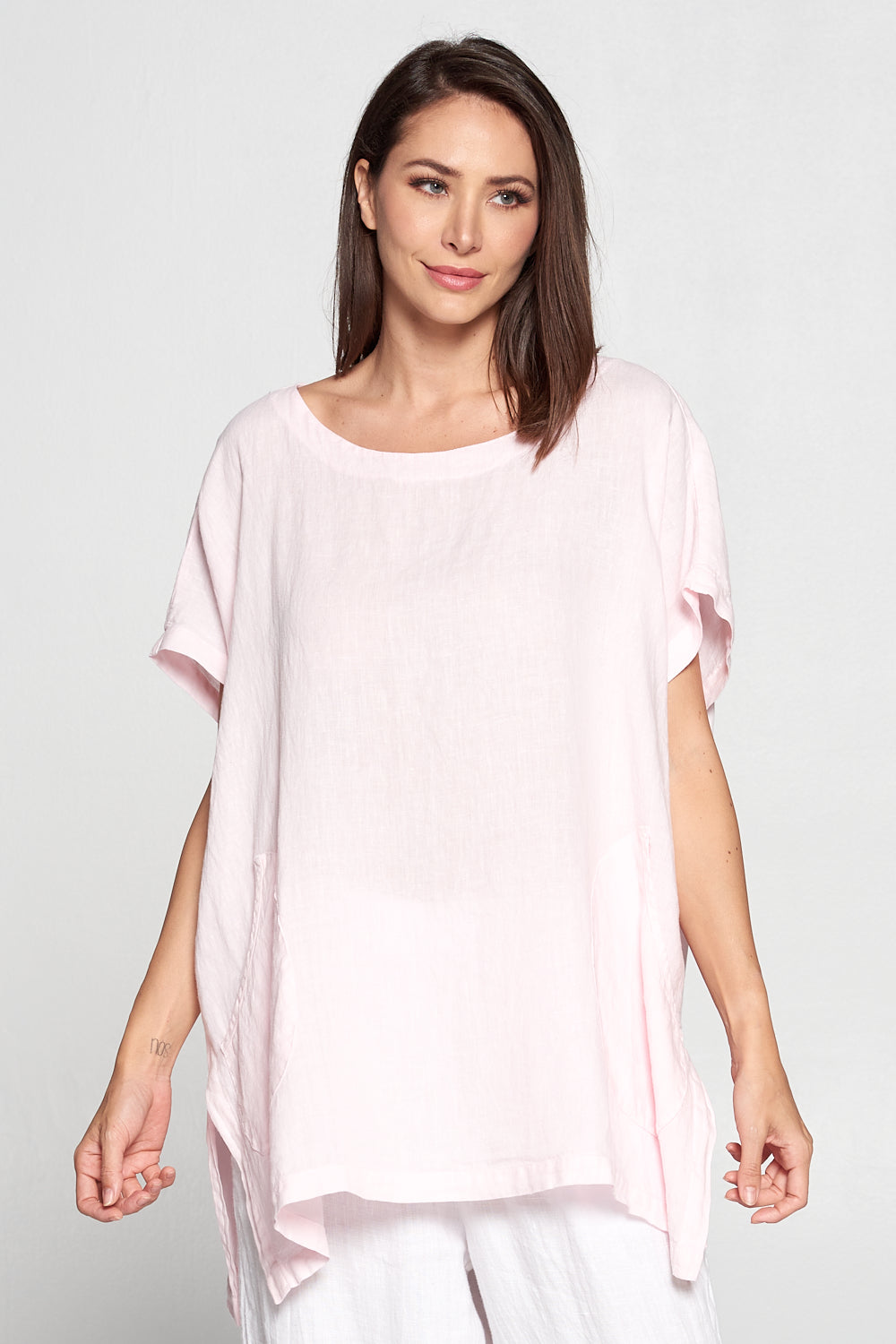 Match Point Linen Round Neck Boxy Tunic with Front Pockets - Pink - HLT430 - Lori's Lovelies