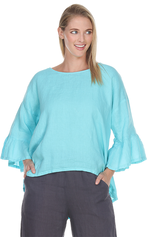 Match Point Light Weight Linen Ruffle Sleeve with Hi/Lo Hem HLT635  in aqua, light pink, charcoal, and black - Lori's Lovelies