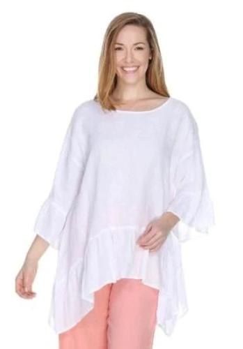 Match Point Light Weight Linen Dropped Sides Ruffle Hem HLT651 Pink Lavender, Light Pink and White