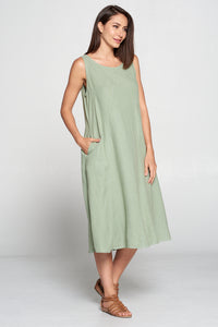 Match Point Linen Round Neck Sleeveless Dress with Decorative Seams in Quartz Pink  HLD1204 - Lori's Lovelies