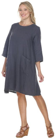 Match Point Linen Round Neck Dress or Long Tunic with Pockets  HLD611 - Lori's Lovelies