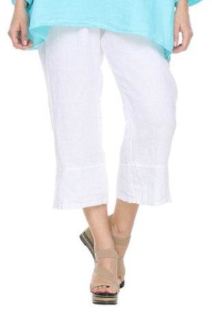 Match Point Linen Capri Pants with Side Slits LP40 in White Charcoal Midnight - Lori's Lovelies