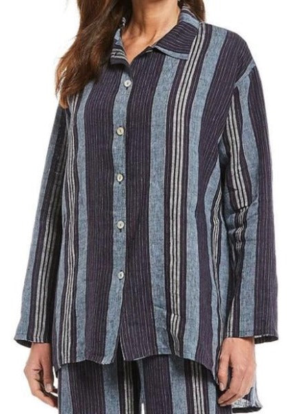 Bryn Walker Mirren Striped Linen Long Sleeved Hi-Lo Hem Button Up Tunic or Jacket