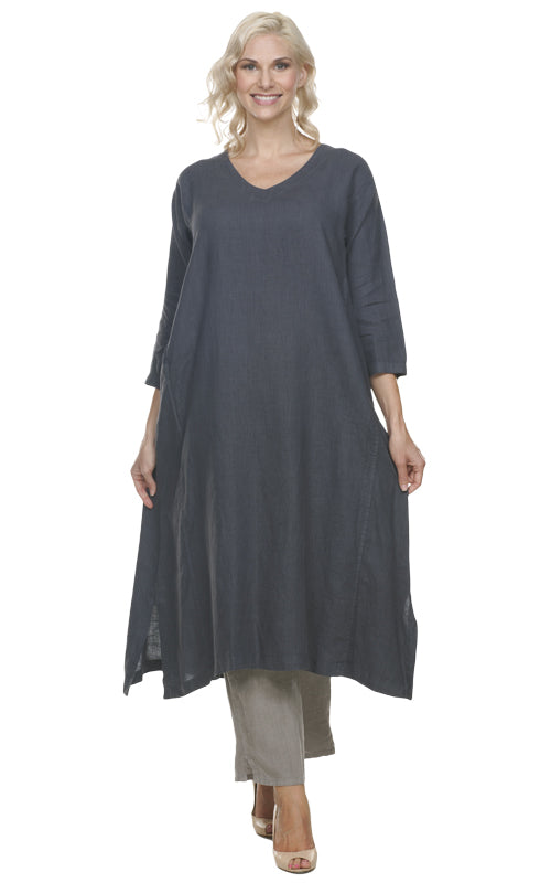La Fixsun Linen Vneck 3/4 sleeve Long A-line Dress