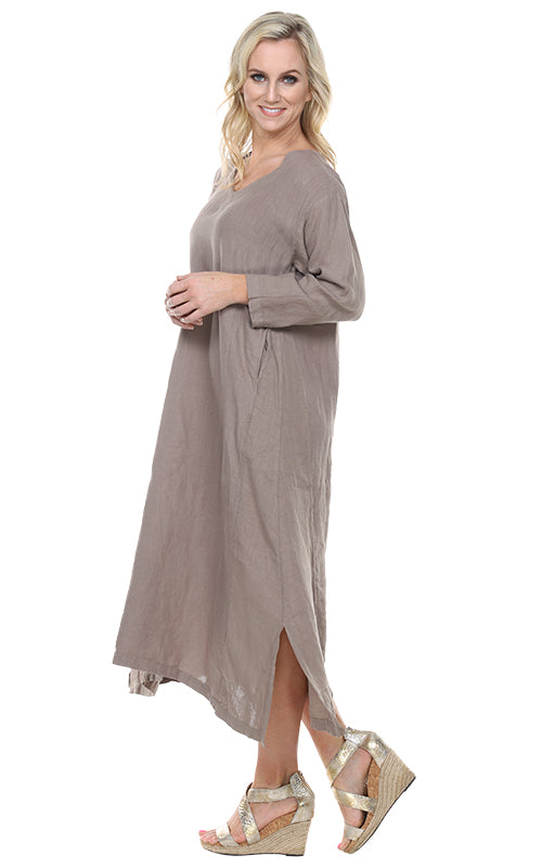 La Fixsun Linen Vneck 3/4 sleeve Long A-line Dress FBD120 - Lori's Lovelies