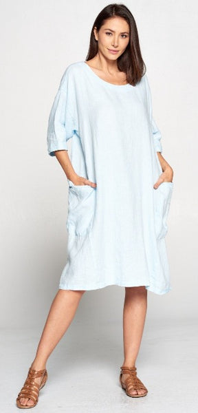 La Fixsun Linen Dress or Tunic with Large Side Pockets  Black, Denim, Charcoal, Ice Blue FBD861 - Lori's Lovelies