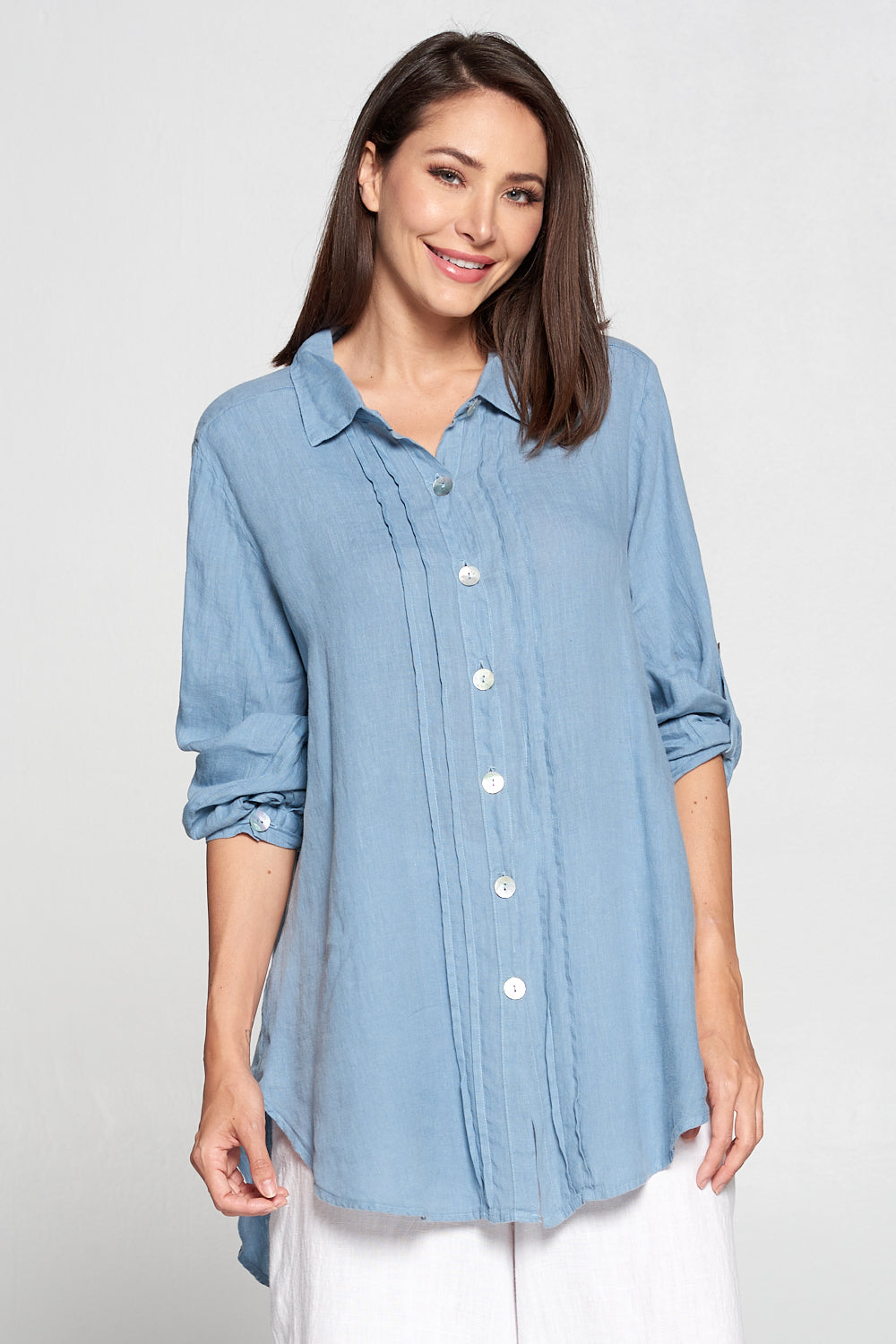 Match Point Linen Button Down Collared Tunic with Pleats  HLT550 in Light Chambray - Lori's Lovelies